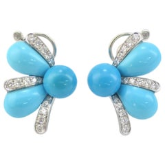 Margherita Burgener 18 Karat Gold Diamond Turquoise Earrings