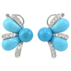Natural Turquoise Diamond  18 Karat White Gold Earrings