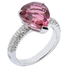 Pink Tourmaline Diamond 18 Karat Gold  Ring