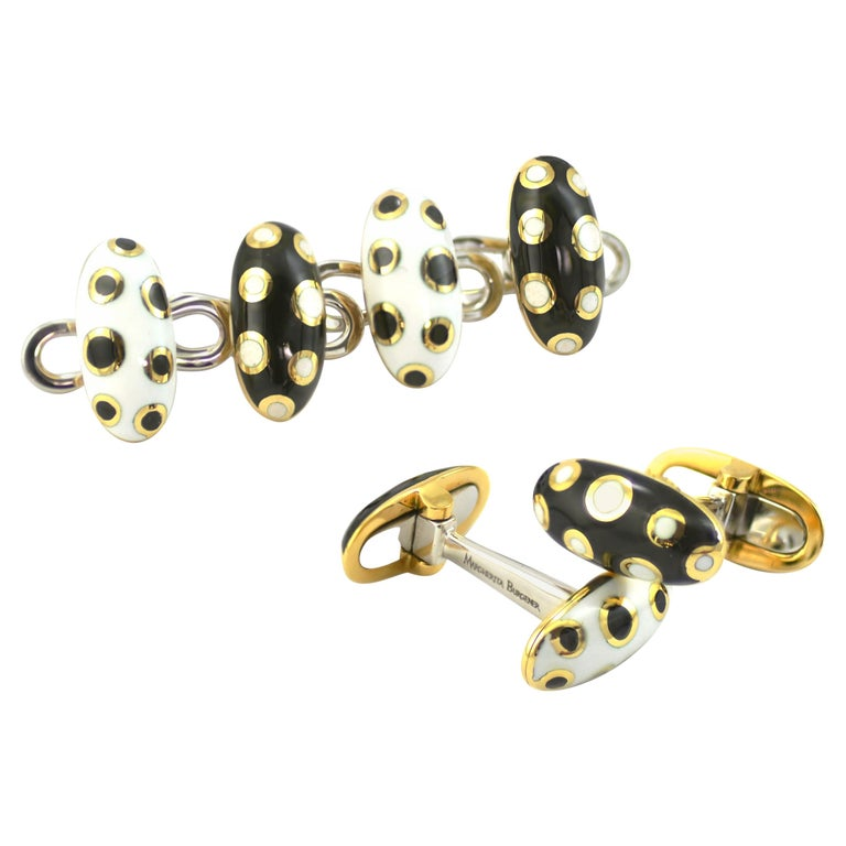 18 Karat Gold Black and White Enamel Studs and Cufflinks For Sale