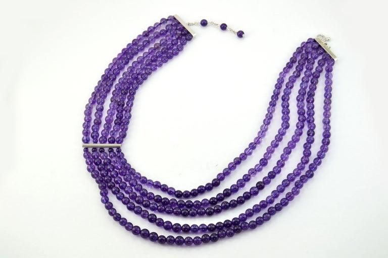 Contemporary Amethyst Citrine Quartz Diamond 18 Kt Gold Necklace Brooch For Sale