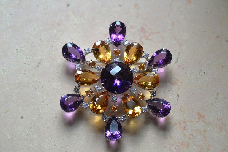 Round Cut Amethyst Citrine Quartz Diamond 18 Kt Gold Necklace Brooch For Sale