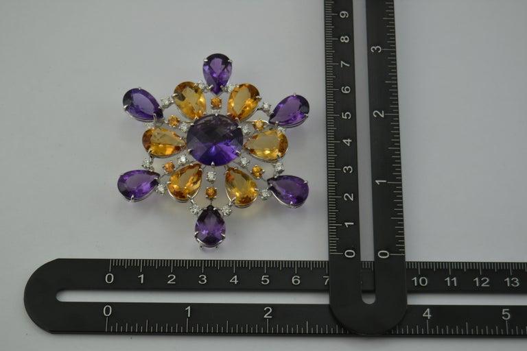 Amethyst Citrine Quartz Diamond 18 Kt Gold Necklace Brooch For Sale 1