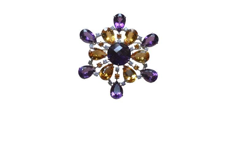 Amethyst Citrine Quartz Diamond 18 Kt Gold Necklace Brooch For Sale 2