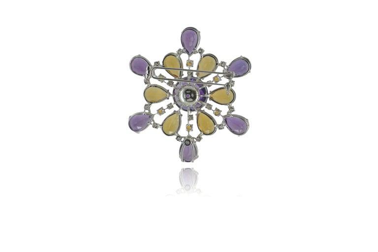 Amethyst Citrine Quartz Diamond 18 Kt Gold Necklace Brooch For Sale 3