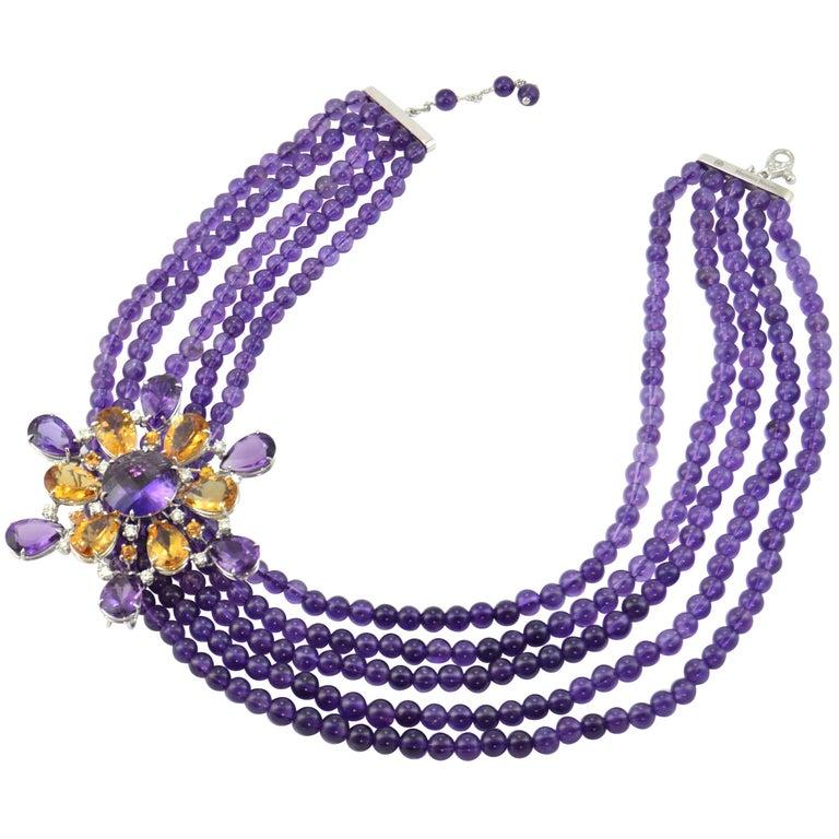 Amethyst Citrine Quartz Diamond 18 Kt Gold Necklace Brooch For Sale