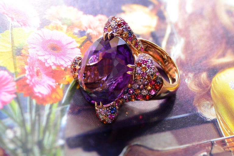 Contemporary Amethyst Diamond Sapphires on Pink Gold Cocktail Ring For Sale