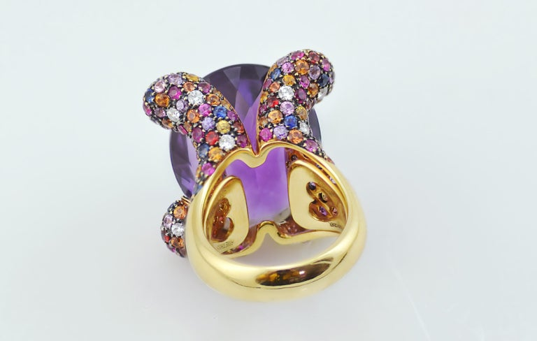 Amethyst Diamond Sapphires on Pink Gold Cocktail Ring In New Condition For Sale In Valenza , IT