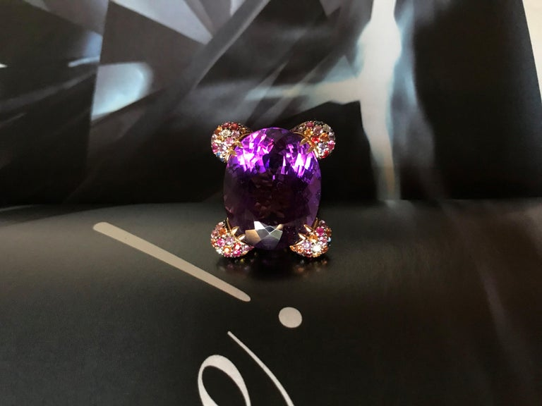 Women's Amethyst Diamond Sapphires on Pink Gold Cocktail Ring For Sale