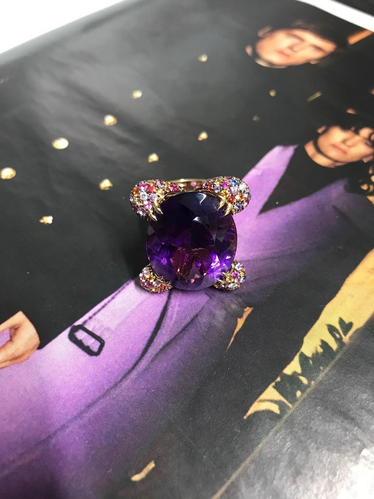 Amethyst Diamond Sapphires on Pink Gold Cocktail Ring For Sale 1