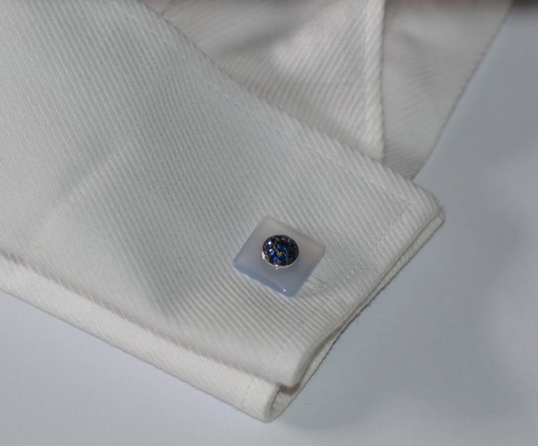 Round Cut Blue Sapphires Chalcedony  Gold Handcrafted Cufflinks  For Sale