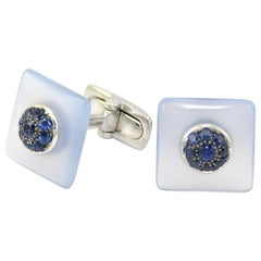 Blue Sapphires Chalcedony  Gold Handcrafted Cufflinks