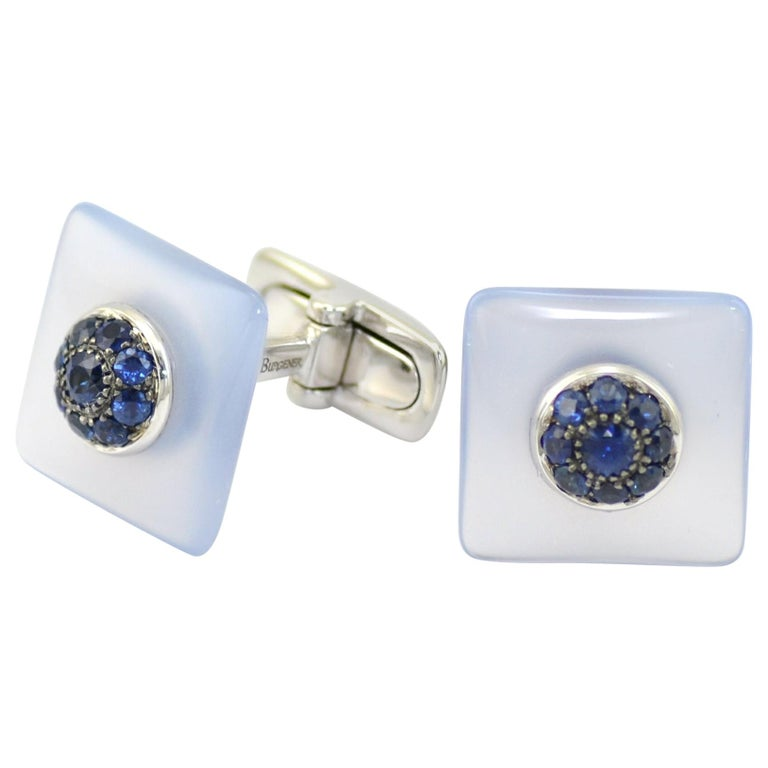 Blue Sapphires Chalcedony  Gold Handcrafted Cufflinks  For Sale