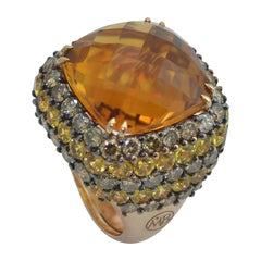 Made in Italy Brown Diamond Yellow Sapphire Citrin Quartz Gold Cocktail Ring