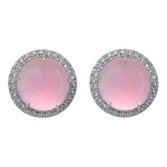 Margherita Burgener Cabochon Pink Quartz Gold Diamond Made in Italy Earrings