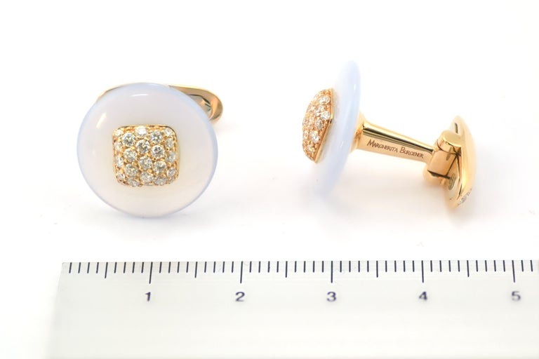 Fabric Cuffs and  Chalcedony Diamond Pink Gold Cufflinks  In New Condition For Sale In Valenza , IT