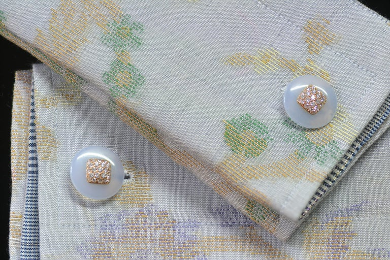 Fabric Cuffs and  Chalcedony Diamond Pink Gold Cufflinks  For Sale 1