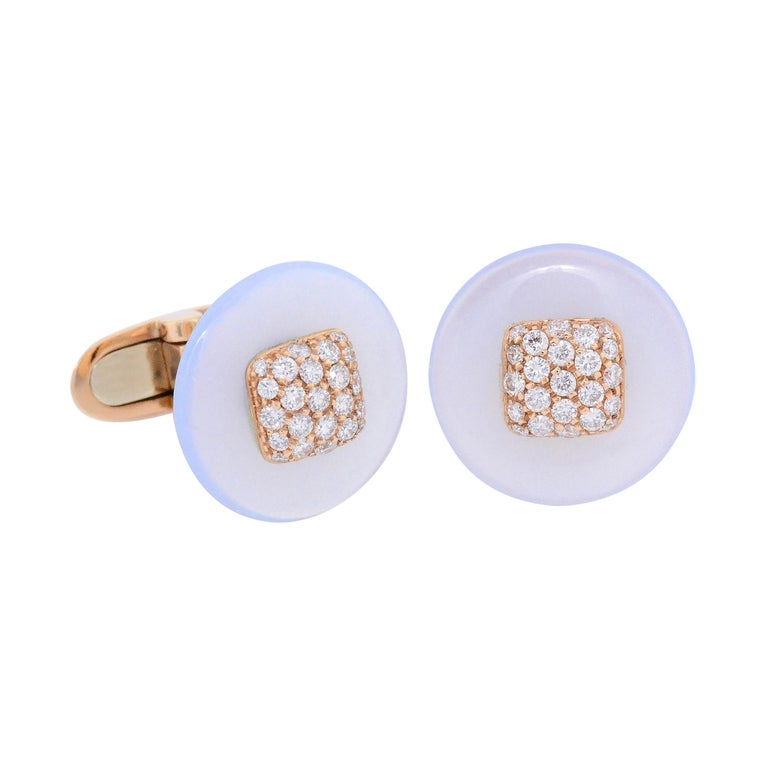 Fabric Cuffs and  Chalcedony Diamond Pink Gold Cufflinks  For Sale