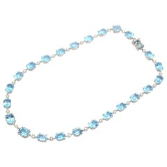 Diamond Blue Topaz 18 Kt White Gold Made in Italy Necklace