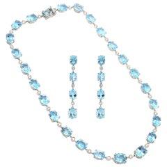 Diamond Blue Topaz 18 Karat Gold Parure Necklace Earrings