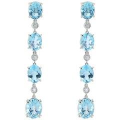 Margherita Burgener Diamond Blue Topaz 18 Karat Gold Pendant Earrings