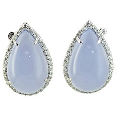 Margherita Burgener Diamond Chalcedony 18 Karat Gold Earrings