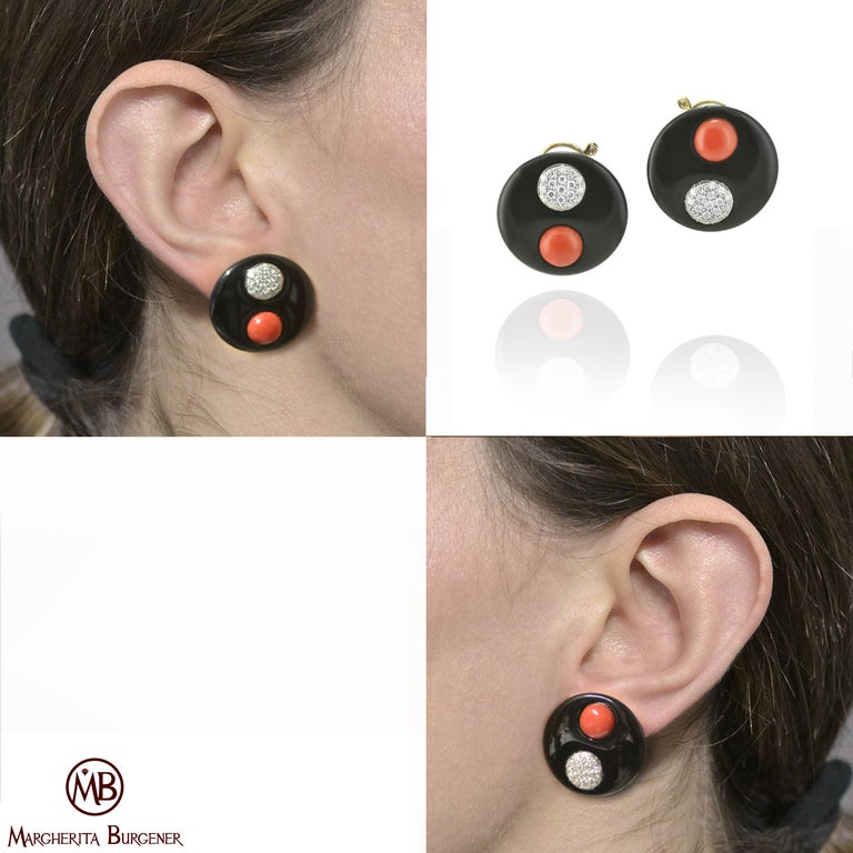 Contemporary  Red Rubrum Coral  Diamond Onyx Disks Titanium Gold Earrings For Sale