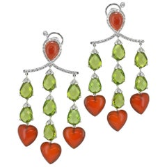 Margherita Burgener Diamond Peridot Carnelian Gold Pendant Chandelier Earrings
