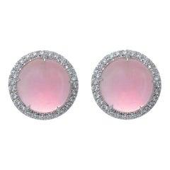 Margherita Burgener Every Day Chic Pink Quartz Gold Diamond 0.48 Carat Earrings