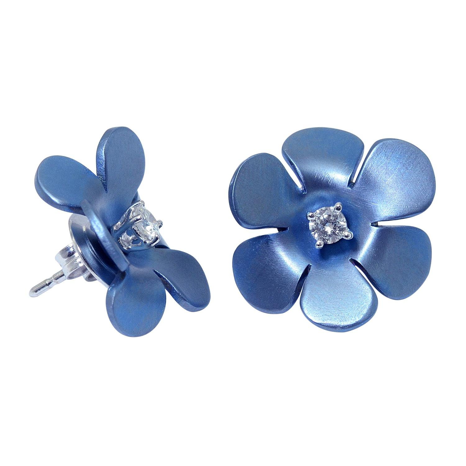 Made in Italy Handcrafted Transformer Titanium Diamond Gold Flower Earrings