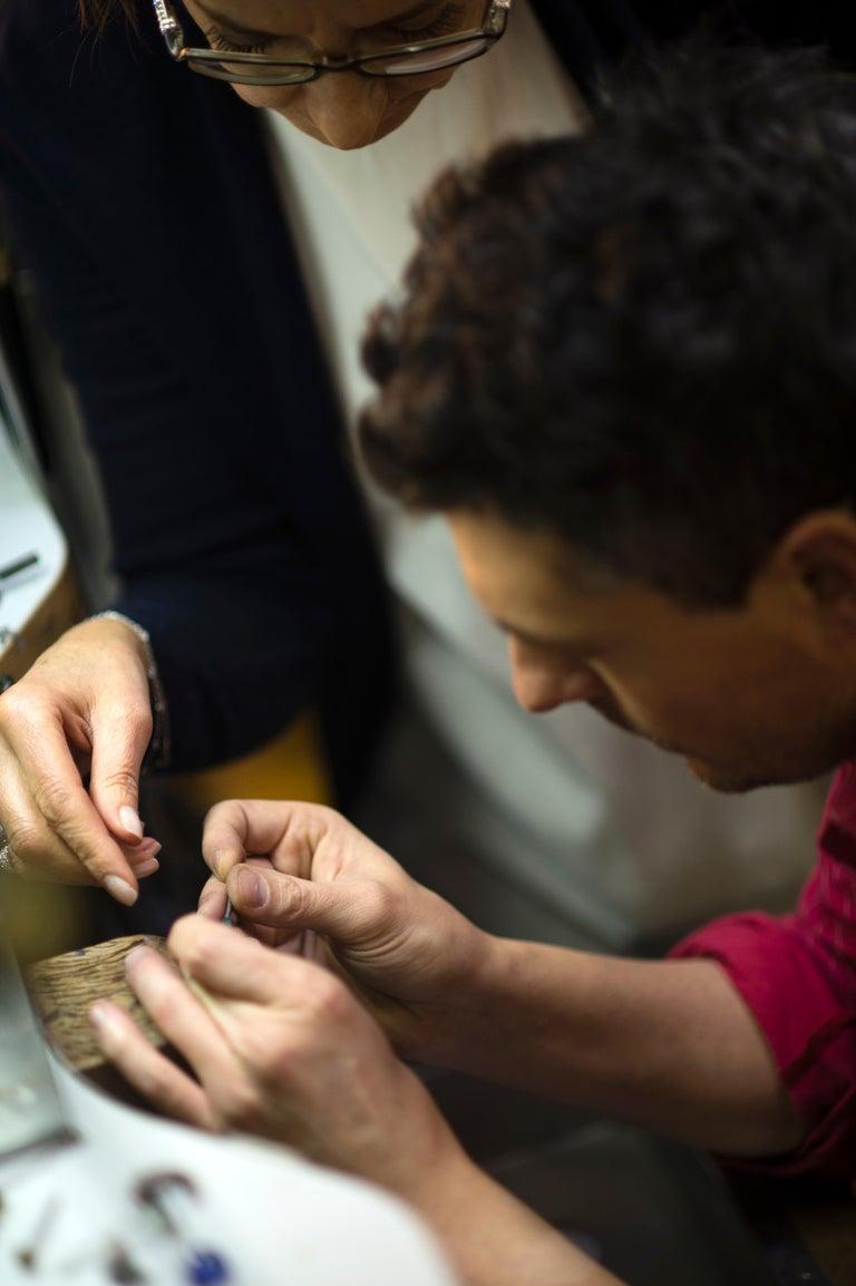 Margherita Burgener Gold Titanium Black Spinel Diamond Coral Owl Cufflinks For Sale 4