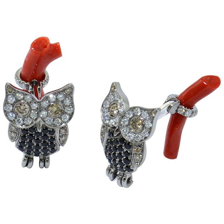 Margherita Burgener Gold Titanium Black Spinel Diamond Coral Owl Cufflinks For Sale