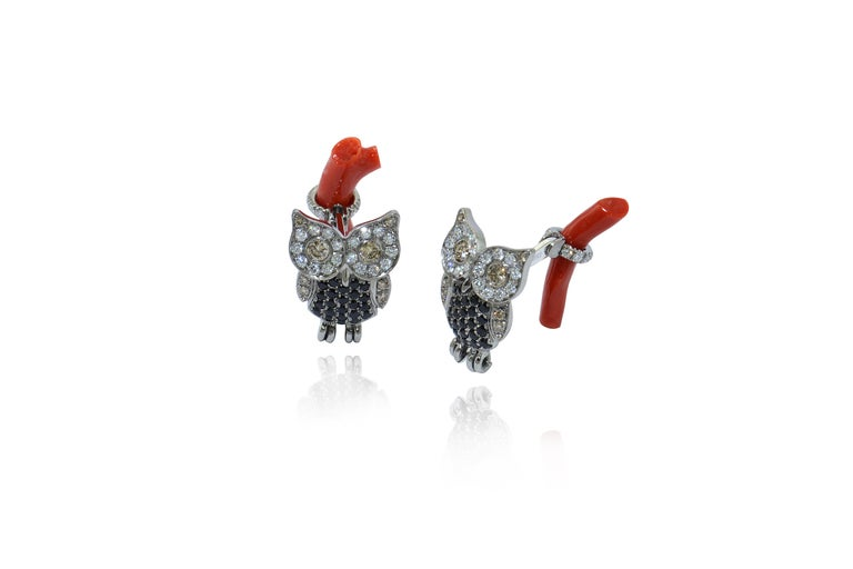 Designed and handcrafted in Italy in Margherita Burgener workshop,  the cufflinks are handcrafted in titanium, set with diamonds, black spinel, yellow diamonds. The T-bar is made of a branch of red rubrum coral, linked by 18Kt white gold stick.  The