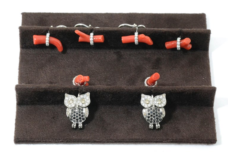 Titanium Gold Diamond Brown D. Black Spinel Rubrum Coral Studs and Cufflinks In New Condition For Sale In Valenza , IT