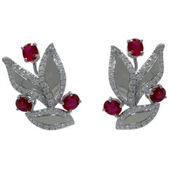 Margherita Burgener Handcrafted 18Kt Gold Ruby Diamond Leaves Design Earrings
