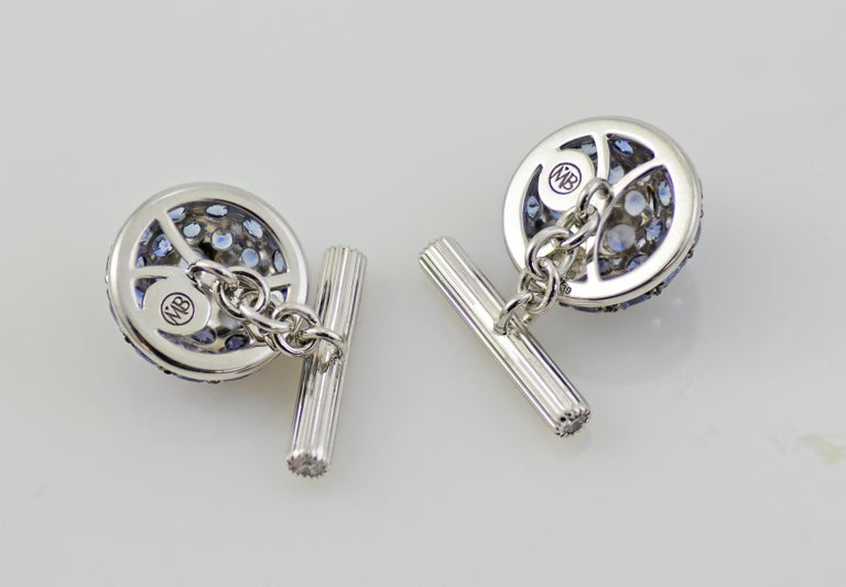 Blue Sapphires Diamond 18kt Gold  Boule Cufflinks In New Condition For Sale In Valenza , IT