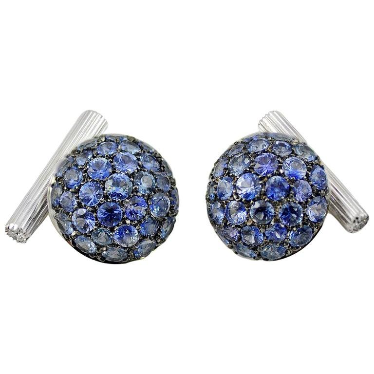 Blue Sapphires Diamond 18kt Gold  Boule Cufflinks For Sale