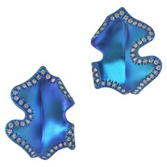 Margherita Burgener Handcrafted in Italy  Blue Titanium Diamond Gold Earclips
