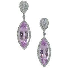 Margherita Burgener Kunzite Diamonds 18 Karat Gold Earrings