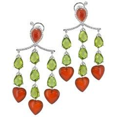 Peridot Diamond Carnelian Heart Shape 18KT Gold Handmade Chandelier Earrings