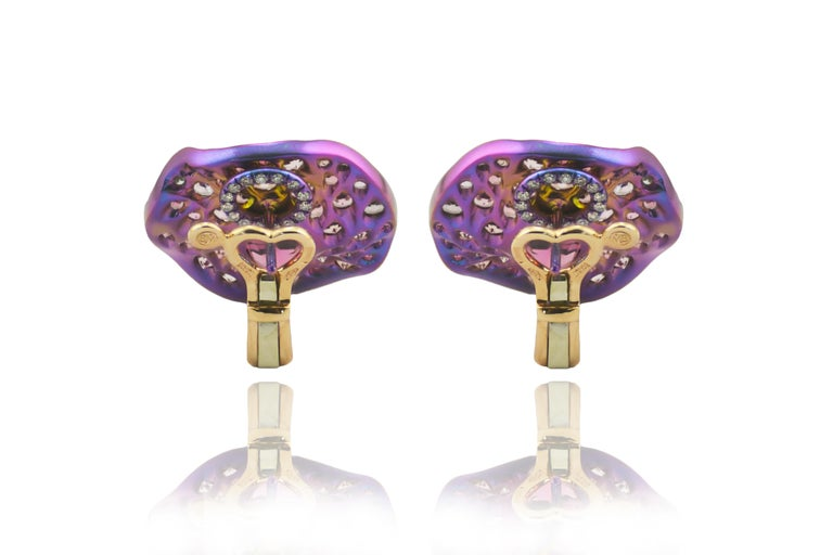 Women's Pink Tourmaline Sapphires Diamond Gold Titanium Earrings For Sale