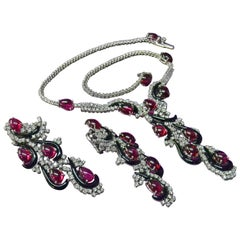 18KT Gold Rubellite Diamond Onyx Parure Necklace and Earrings