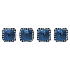 Margherita Burgener Handcrafted Blue Titanium Diamond Gold Set of 4 Studs