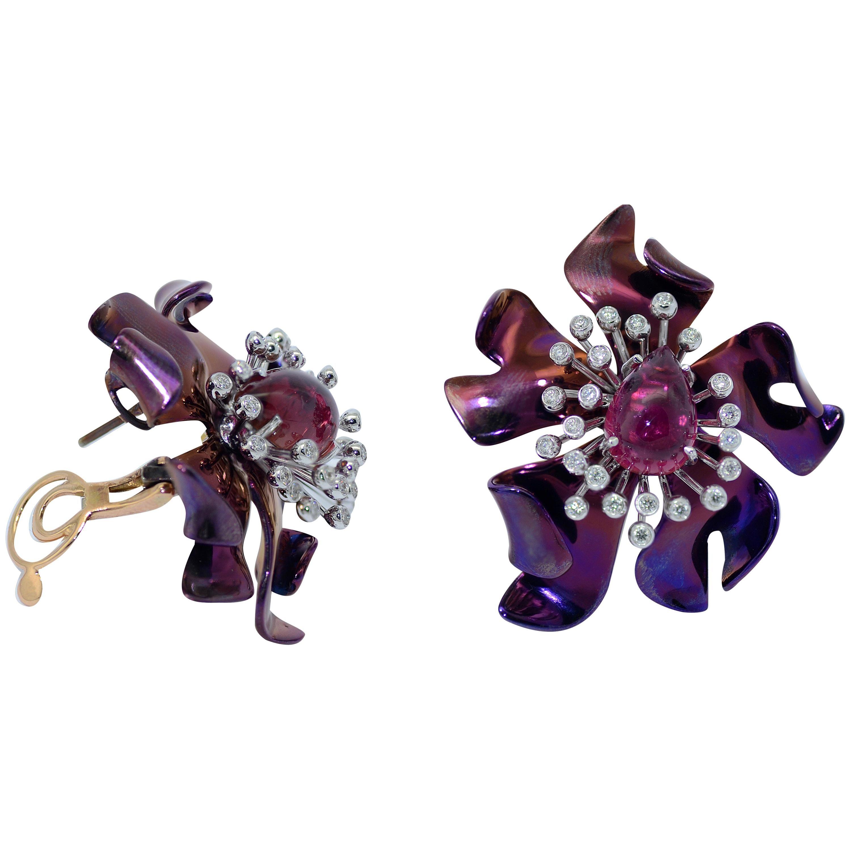 Titanium Diamond Tourmaline 18 Karat Gold Earrings
