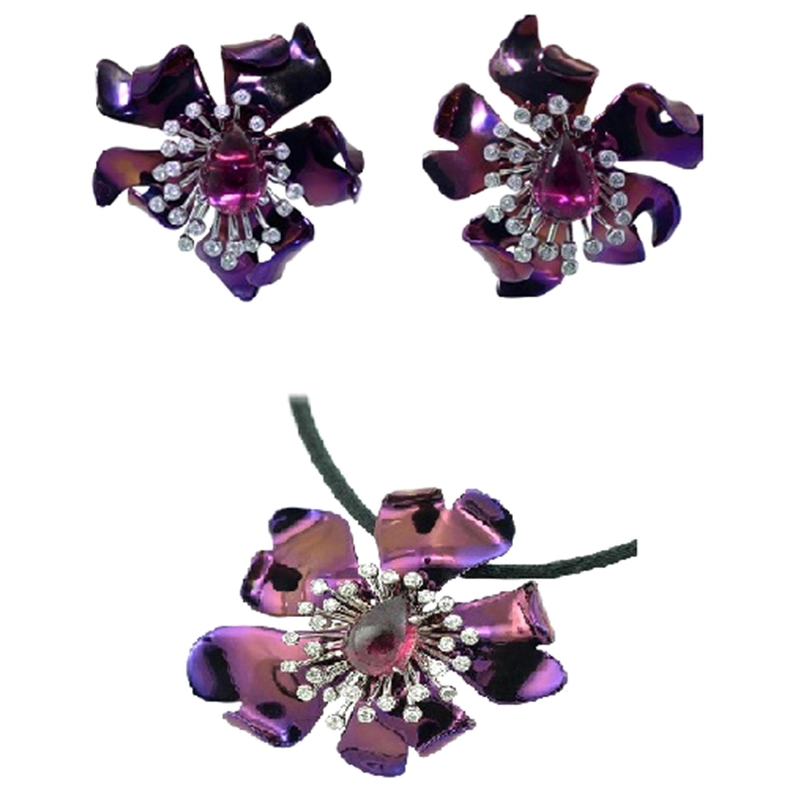 Titanium Diamonds Tourmaline 18 Karat Gold Earrings and Pendant