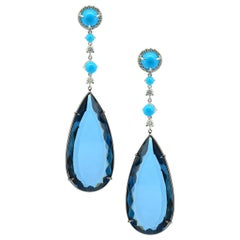 Made in Italy Turquoise Diamond Blue Topaz 18 Karat Gold Earrings