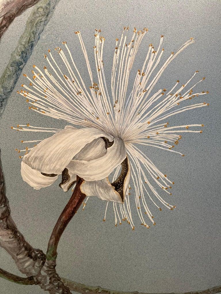 Fine and elegant Brasilian white flower on cerulean azure by italian painter - Painting by Margherita Leoni