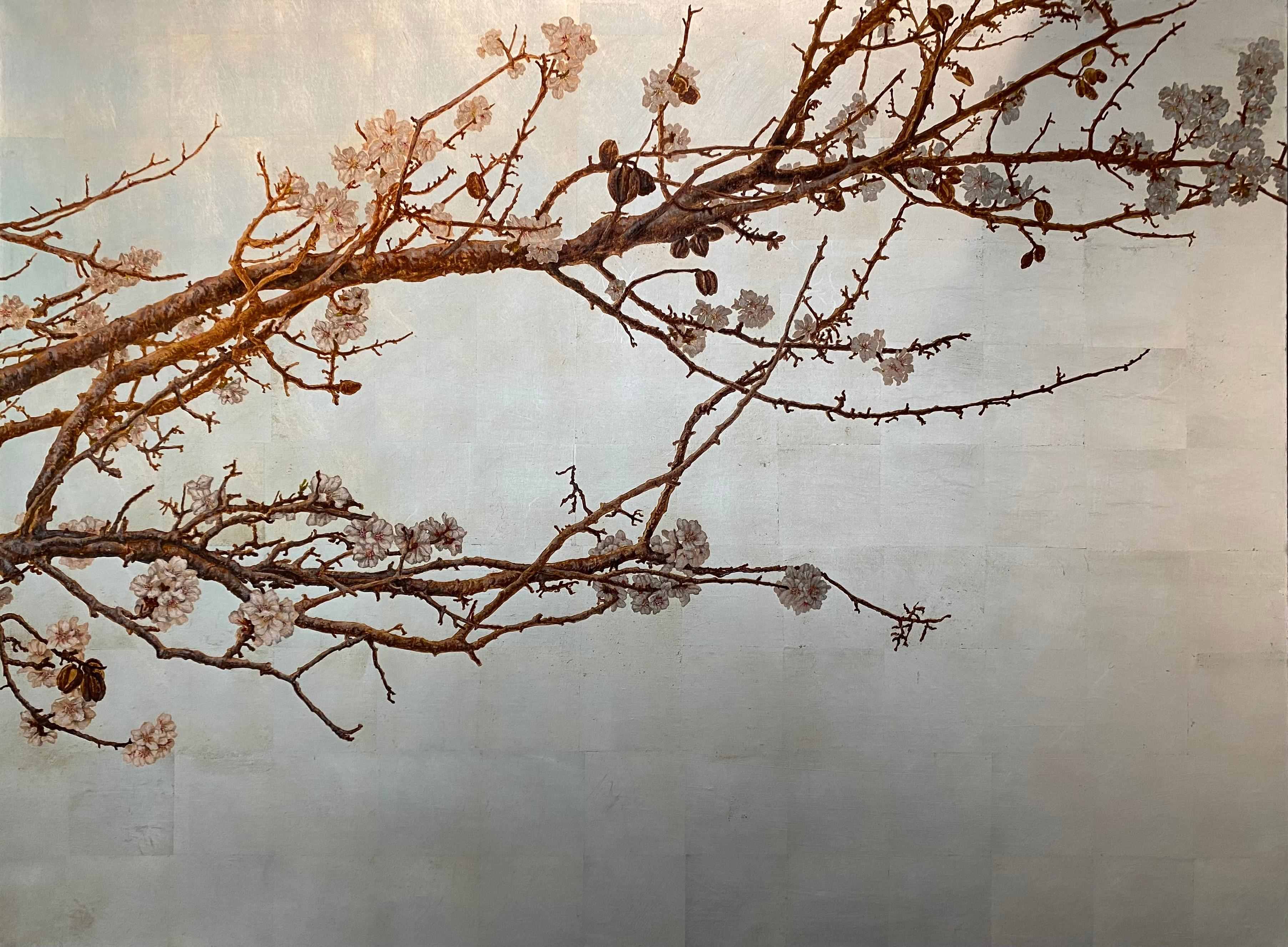Elegant and Poetic Almond Tree on Silver Leaf Background by Italian Painter