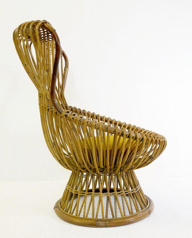 Mid-Century Modern Margherita Rattan Armchair by Franco Albini for Bonacina, 1950s For Sale