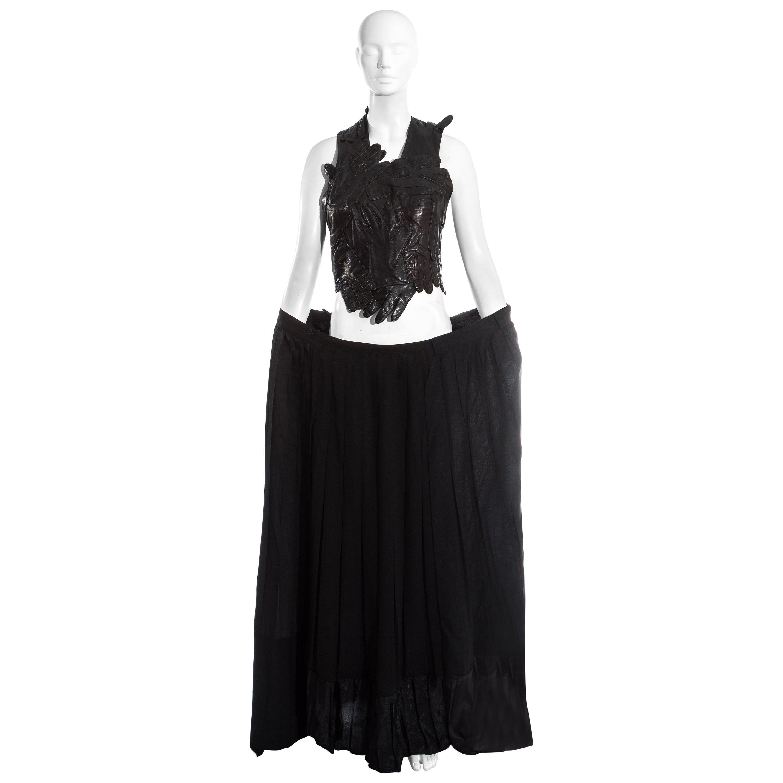 Margiela Artisanal black glove top and pleated skirt runway ensemble, ss 2001
